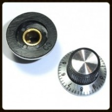 "Adjustable Knobs - 1/4"" Shaft Silver with Black Numbers"